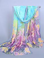 Women's Chiffon Flowers Print Scarf,Blue/Pink/Fuchsia/Yellow