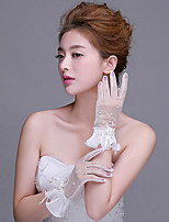 New Wrist Length Fingertips Glove Net Bridal Gloves with Pearls / Ruffles / Bow