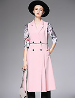 AFOLD® Women's Peter Pan Collar Long Sleeve Vest & Waistcoat Pink / Green-6059
