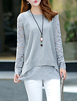 Women's Casual/Daily Street chic Regular Pullover,Solid Gray Round Neck Long Sleeve Cotton Fall / Winter Medium