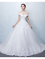 Ball Gown Wedding Dress Court Train Off-the-shoulder Tulle with Appliques / Ruffle