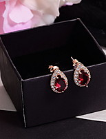 Earring Oval Jewelry Women Fashion Daily Zircon 1 pair Silver / Red / Blue