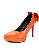 Damen-High Heels-Kleid-Kunstleder-Stöckelabsatz-Absätze / Spitzschuh / Geschlossene Zehe-Schwarz / Grau / Mandelfarben / Orange