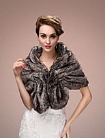 Women's Wrap Capelets Sleeveless Faux Fur Gray Wedding / Party/Evening V-neck 45cm Tiered Hidden Clasp