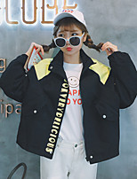 Women's Casual/Daily Simple Fall Jackets,Letter Stand Long Sleeve Blue / Pink / Black Cotton Medium