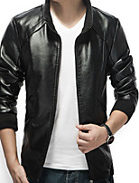 Men's Short Sleeve Casual Jacket,Polyester Solid Black / Blue