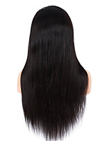 10-28 Inch Indian Virgin Human Hair Silk Straight Natural Black Color Frontal Lace Wigs with Baby Hair