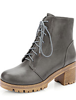 Women's Shoes Winter Combat Boots / Round Toe Boots Casual Chunky Heel Lace-up Black / Gray
