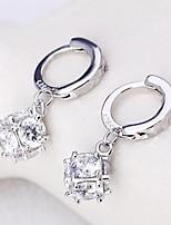 S925 silver cube sugar love window fashion earrings