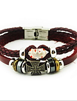 Wine Red Flower Leather Wrap Bracelet with Cross