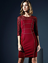 Boutique S Women's Casual/Daily Vintage Shift Dress,Patchwork Round Neck Above Knee ¾ Sleeve Red Polyester Fall