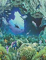 JAMMORY Wallpaper For Home Wall Covering Canvas Adhesive required Mural Underwater World Fish3XL(14'7''*9'2'')
