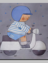 Hand Painted Boy Riding A Motorcycle Oil Paintings On Canvas Wall Art Picture With Stretched Frame Ready To Hang 80x80cm