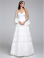 Lanting Bride® A-line Wedding Dress Floor-length Sweetheart Organza / Tulle with Criss-Cross / Lace
