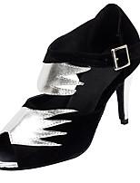 Non Customizable Women's Dance Shoes Flocking Flocking Latin / Salsa Sandals / Heels Stiletto Heel Professional / Indoor