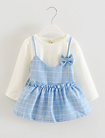 FanXingBeiYiGirl's Casual/Daily Striped Dress / Blouse / Clothing Set,Cotton / Polyester Spring / Fall Blue / Pink