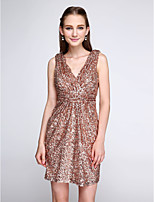 Lanting Bride®Short / Mini Sequined Bridesmaid Dress - Sparkle & Shine Sheath / Column V-neck with Ruching / Sequins