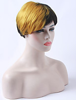 Capless Half Blonde Half Black Wig 10 inches Short Straight African American Wigs Costume Wig