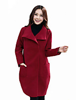 Women's Plus Size / Casual/Daily Street chic Coat,Solid Shirt Collar Long Sleeve Fall / Winter Red Polyester Thick