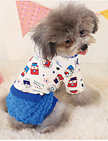 Dog Sweater Blue Winter / Spring/Fall Floral / Botanical / Letter & Number Casual/Daily Dog Clothes / Dog Clothing-Other