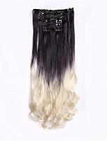 cabelo dois tons ombre clipe de gradiente de extensão de cabelo sintético em 7pcs extensão do cabelo / set 56 centímetros 22inch peruca