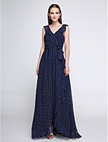 Lanting Bride®Floor-length Chiffon Bridesmaid Dress - Vintage Inspired Sheath / Column V-neck with Pattern / Print