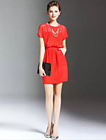 Boutique S Going out / Casual/Daily / Holiday Sexy/ Cute Sheath Dress,Solid Round Neck Above Knee Short Sleeve Pink