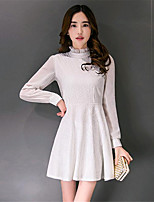 Women's Going out Street chic Sheath Dress,Solid Stand Above Knee Long Sleeve