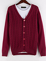 Men's Solid Casual Cardigan,Cotton Long Sleeve Blue / Red