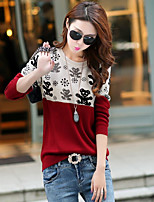 Women's Going out / Casual,Animal Print Blue / Red / Black Round Neck Long Sleeve Nylon Spring / Fall Medium
