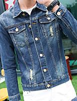 Men's Long Sleeve Casual Jacket,Cotton Patchwork Blue