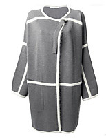 Women's Casual/Daily Simple Loose Long Cardigan,Color Block Round Neck Long Sleeve