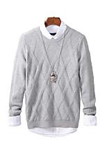 Мужской Однотонный Пуловер На каждый день / Для занятий спортом,Искусственный шёлк / Акрил,Длинный рукав,Черный / Синий / Оранжевый /