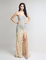 Formal Evening Dress Trumpet / Mermaid Sweetheart Sweep / Brush Train Chiffon with Beading / Feathers / Fur