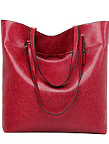 Women PU Casual Solid Color  Shopping Shoulder Tote Storage Supermarket Large Capacity Weekend  Bag