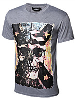 Men's Patchwork Casual T-Shirt,Cotton Short Sleeve-Black / White / Gray