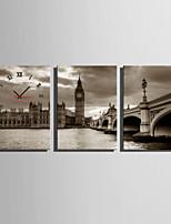 Moderno/Contemporaneo Altro Orologio da parete,Rettangolare Tela35 x 50cm(14inchx20inch)x3pcs/ 40 x 60cm(16inchx24inch)x3pcs/ 50 x
