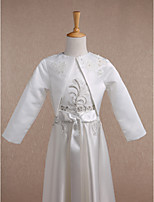 Kids' Wraps Shrugs Long Sleeve Satin Ivory Wedding / Party/Evening / Casual Scoop 34cm Flower(s) Open Front