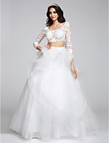 A-line Wedding Dress Floor-length Scoop Tulle with Appliques