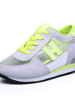 Women's Sneakers Spring / Fall Comfort Tulle Casual Wedge Heel Lace-up Green / Fuchsia Sneaker
