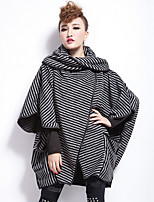 Women's Casual/Daily Sophisticated Cloak/Capes,Striped Asymmetrical ¾ Sleeve Winter Gray Cotton Thick