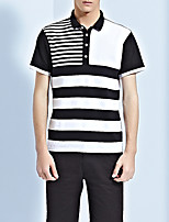 Men's Striped Casual T-ShirtPolyester Short Sleeve-Black