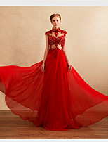 Dress A-line High Neck Floor-length Chiffon with Appliques / Beading