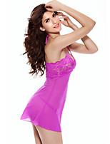 Women Lace Lingerie Nightwear,Sexy / Lace Jacquard-Thin / Medium Lace Red / Black Women's