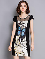 Women's Plus Size Vintage Bodycon Dress,Patchwork Round Neck Mini Short Sleeve Black Polyester Summer
