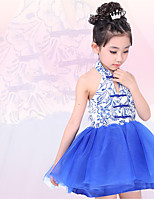 Performance Dresses Children's Performance Polyester Draped 1 Piece Blue Performance Sleeveless Natural Dress