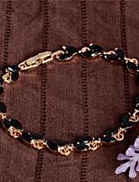 Trendy New Women/Lady's Fashion 18k Gold Plated Leaf 5 Colors CZ Stones Bracelets & Bangles Jewelry