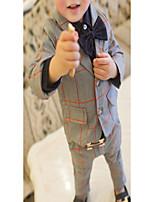 Boy's Formal Plaid Clothing Set,Nylon Spring / Fall Black / Gray