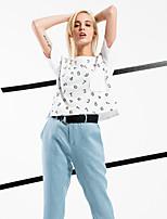 ARNE® Women's Round Neck Short Sleeve T Shirt White-6233