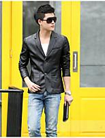 Men's Long Sleeve Casual Jacket,PU Solid Black / Brown / Red